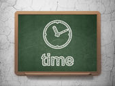Timeline concept: Clock and Time on chalkboard background — Stock Photo