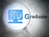 Education concept: Computer Pc and Graduate with optical glass — Stock Photo