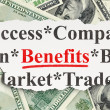 Business concept: Benefits on Money background — Stockfoto