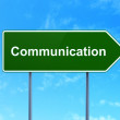 Marketing concept: Communication on road sign background — Stock Photo #36334187