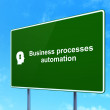Finance concept: Business Processes Automation and Head With Keyhole on road sign background — Stock Photo