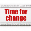Timeline concept: newspaper headline Time for Change — Stockfoto