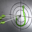 Safety concept: arrows in Fishing Hook target on wall background — Стоковая фотография