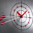 Timeline concept: arrows in Clock target on wall background — Stock Photo