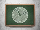 Timeline concept: Clock on chalkboard background — Stock Photo
