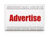 Advertising concept: newspaper headline Advertise — Stock Photo