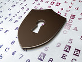 Security concept: Shield With Keyhole on Hexadecimal Code background — Foto Stock