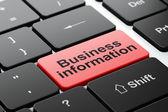 Affärsidé: företagsinformation på dator tangentbord bakgrund — Stockfoto