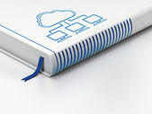 Cloud technology concept: closed book, Cloud Network on white background — Stock Photo