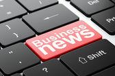 Conceito de notícias: notícias de negócios sobre fundo de teclado de computador — Fotografia Stock