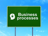 Business concept: Business Processes and Head With Padlock on road sign background — Stock Photo