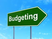 Business concept: Budgeting on road sign background — Stock Photo