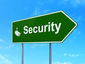 Privacy concept: Security and Cctv Camera on road sign background — Stockfoto
