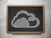 Cloud computing concept: Cloud on chalkboard background — Stock Photo