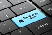 Business concept: Home and Business Plan on computer keyboard background — Foto Stock