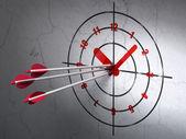 Timeline concept: arrows in Clock target on wall background — Zdjęcie stockowe
