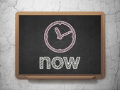 Time concept: Clock and Now on chalkboard background — Zdjęcie stockowe
