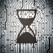 Stock Photo: Time concept: circuit board with Hourglass