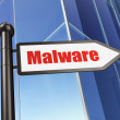Safety concept: sign Malware on Building background — Stock Photo
