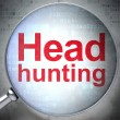 Business concept: Head Hunting with optical glass — Foto de Stock