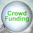 Business concept: Crowd Funding with optical glass — Stock Photo