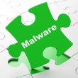 Safety concept: Malware on puzzle background — Stock Photo
