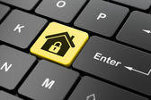 Safety concept: Home on computer keyboard background — Stock Photo