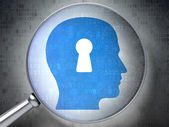 Data concept: Head With Keyhole with optical glass on digital background — Foto Stock