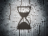 Time concept: circuit board with Hourglass — Stok fotoğraf