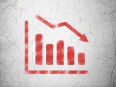 Koncepcja marketingu: spadek wykres na tle ściany — Zdjęcie stockowe