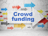 Business concept: arrow with Crowd Funding on grunge wall background — Stock Photo