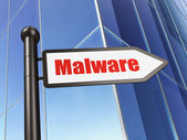 Safety concept: sign Malware on Building background — Stockfoto
