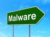 Koncepcja bezpieczeństwa: malware na tło znak drogowy — Zdjęcie stockowe