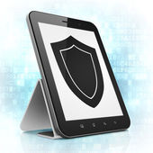 Security concept: Shield on tablet pc computer — Stock Photo