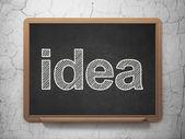 Marketing concept: Idea on chalkboard background — Stock Photo