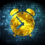 Time concept: Alarm Clock on digital background — Stock Photo #36650425