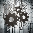 Stock Photo: Advertising concept: circuit board with Gears