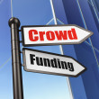 Finance concept: sign Crowd Funding on Building background — Stock Photo