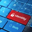 Security concept: Closed Padlock and Identity on computer keyboard background — 图库照片