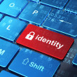 Stock Photo: Security concept: Closed Padlock and Identity on computer keyboard background