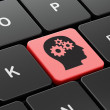 Stock Photo: Advertising concept: Head With Gears on computer keyboard background