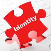 Safety concept: Identity on puzzle background — Zdjęcie stockowe