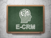 Business concept: Head With Finance Symbol and E-CRM on chalkboard background — Stock Photo