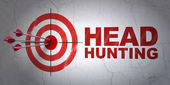 Finance concept: target and Head Hunting on wall background — Stock Photo
