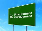 Finance concept: Procurement Management and Decline Graph on road sign background — Foto Stock