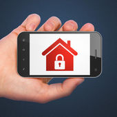 Safety concept: Home on smartphone — Foto de Stock