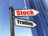 Finance concept: sign Stock Trading on Building background — Photo