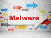 Protection concept: arrow with Malware on grunge wall background — Stock Photo