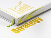 Finance concept: book Growth Graph, Strategy on white background — Stockfoto