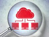 Nuvem o conceito de rede: rede de nuvem com vidro óptico em fundo digital — Foto Stock